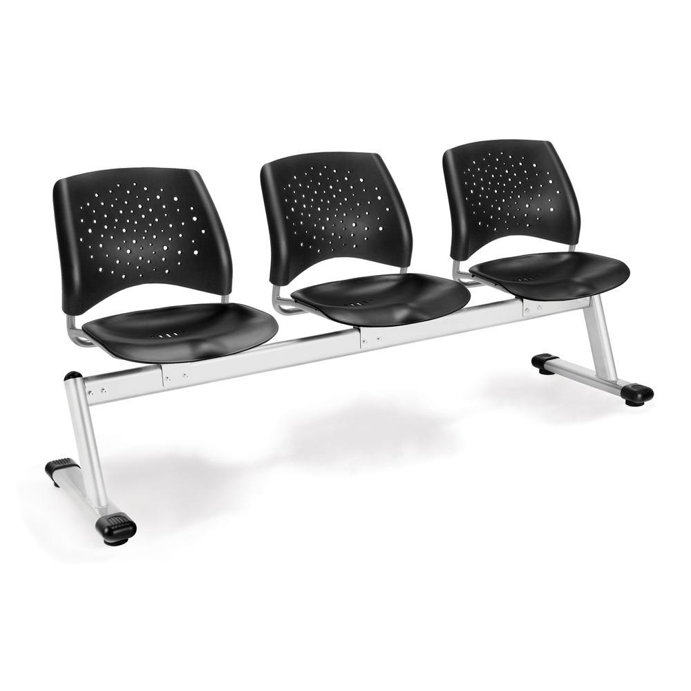 OFM Stars Series Model 323-P 3-Unit Beam Seating with 3 Plastic Seats, Black