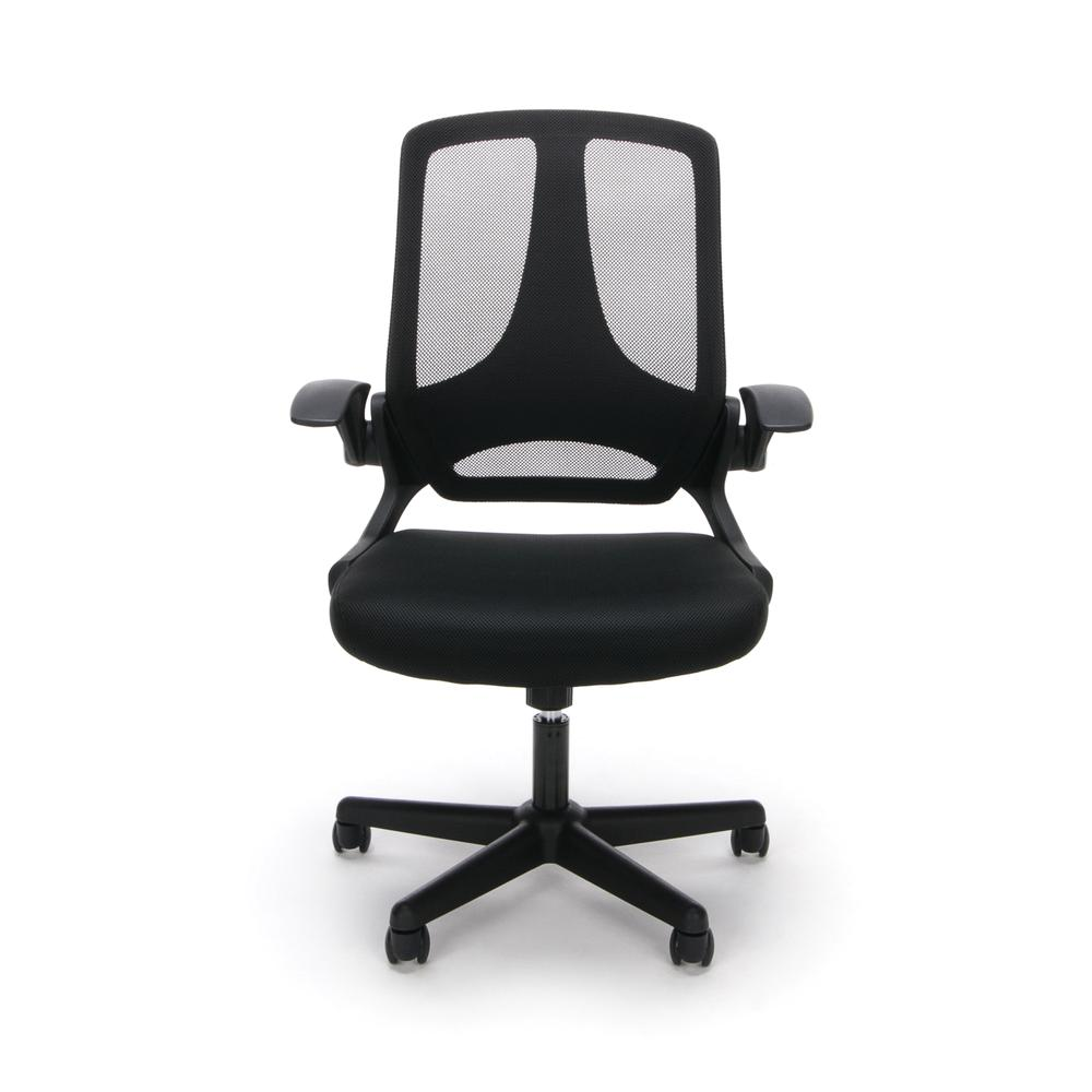 Essentials by OFM ESS-3045 Mesh Upholstered Flip-Arm Task Chair, Black. Picture 2
