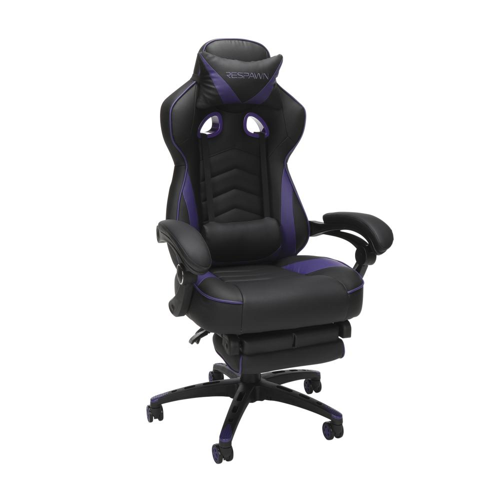 RESPAWN 110 Racing Style Gaming Chair with Footrest, in Purple. Picture 1
