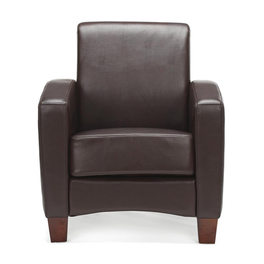 Essentials by OFM ESS-9050 Traditional Reception Arm Chair, Brown. Picture 2