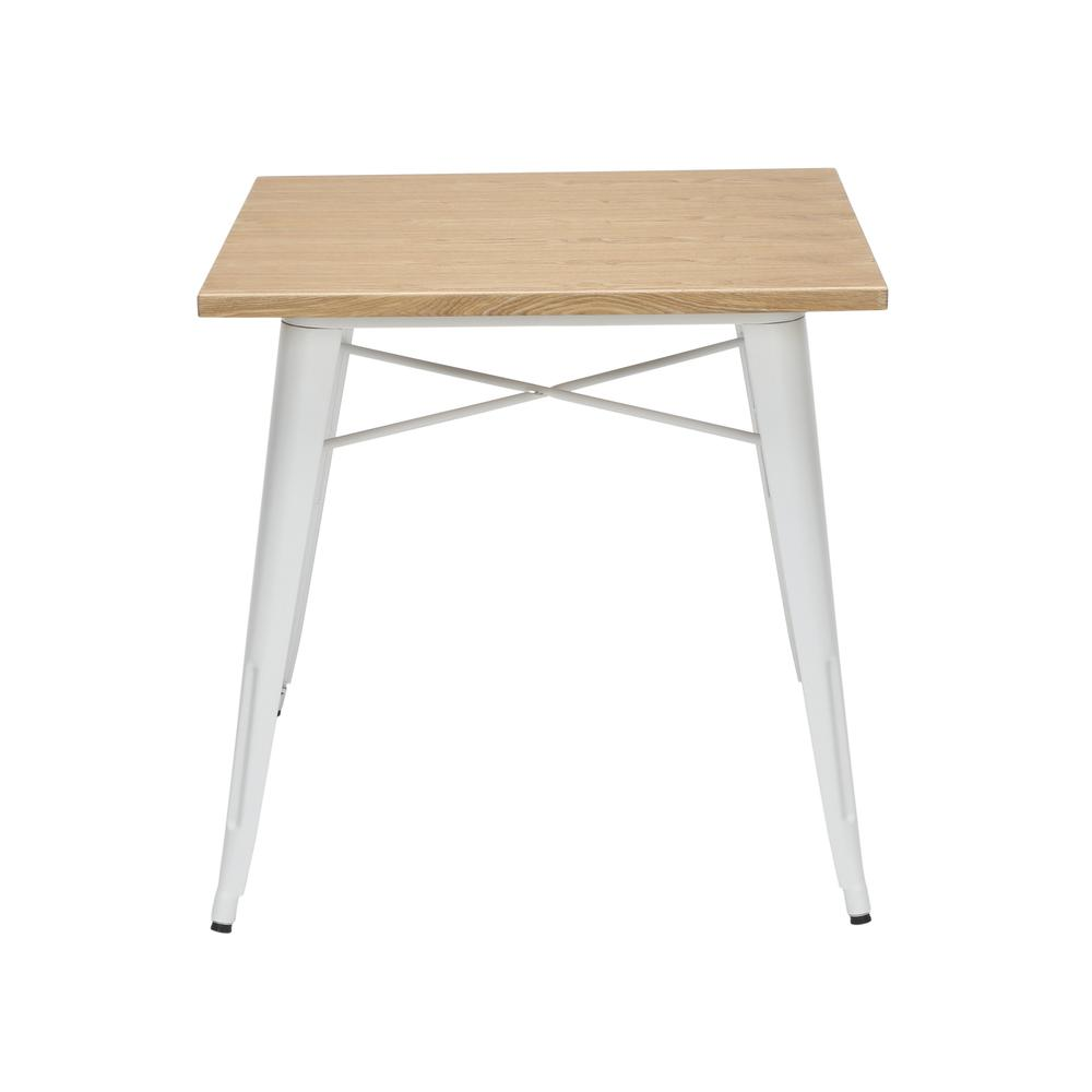 """The OFM 161 Collection Industrial Modern 30"""" Square Dining Table features a galvanized steel body with a wooden tabletop that is ideal for covered outdoor spaces or any indoor space like kitchens, caf. Picture 4"""