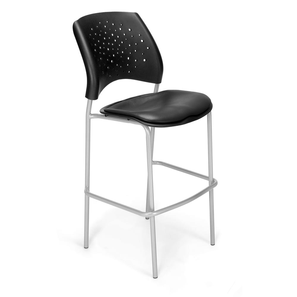 OFM Model 328S-VAM Vinyl Cafe Height Chair, Charcoal with Silver Base. Picture 1