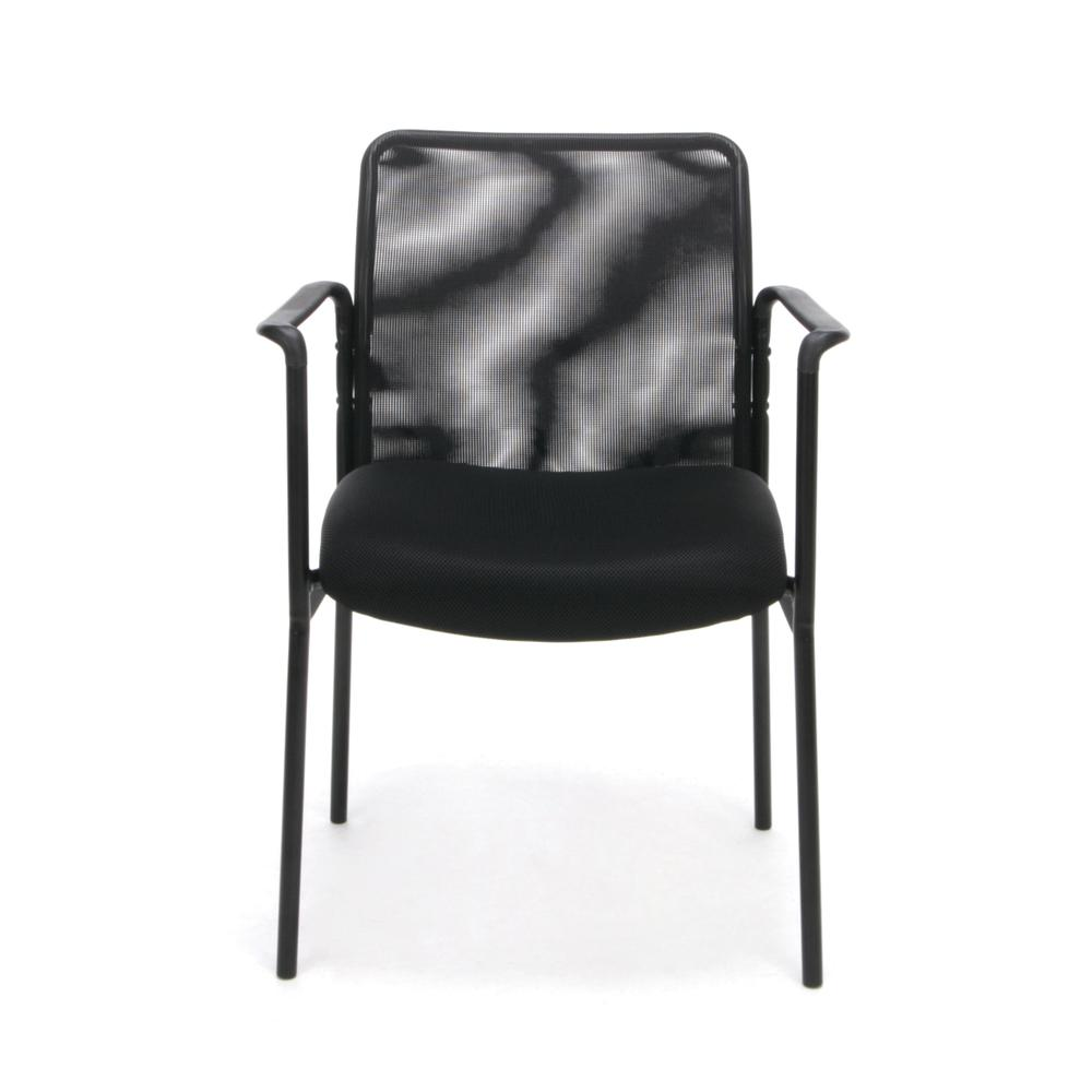 Essentials by OFM ESS-8010 Mesh Back Upholstered Side Chair with Arms, Black. Picture 2