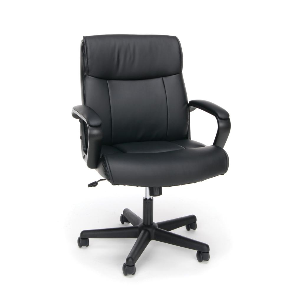 Essentials by OFM ESS-6010 Bonded Leather Executive Chair with Arms, Black. Picture 1