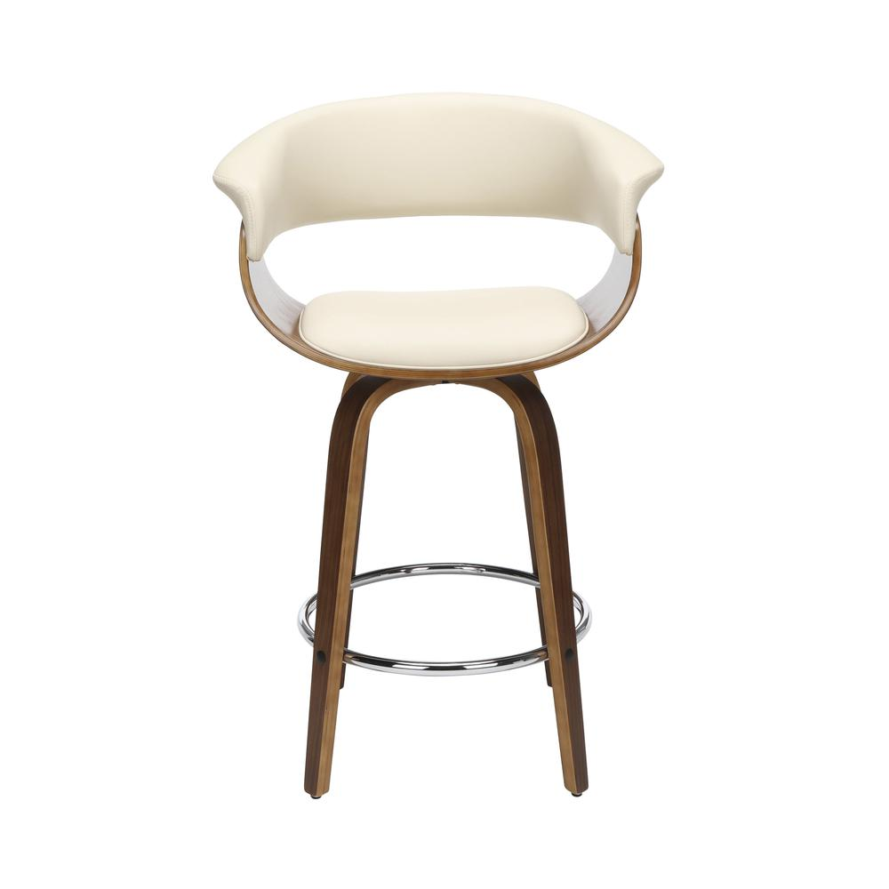 "The OFM 161 Collection Mid Century Modern 26"" Low Back Bentwood Frame Swivel Seat Stool, Vinyl Upholstery, in Ivory, is a statement piece that solves your elevated seating needs with the added functio. Picture 2"