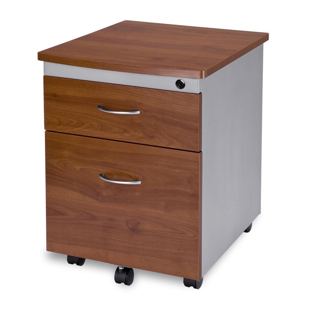 OFM Model 55106 Modular Wheeled Mobile 2-Drawer File Cabinet Pedestal, Cherry. Picture 1