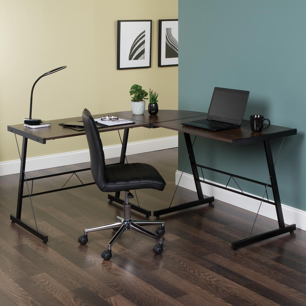 "60"" Metal Frame L-Shaped Desk, Corner Computer Desk, in Wenge. Picture 12"