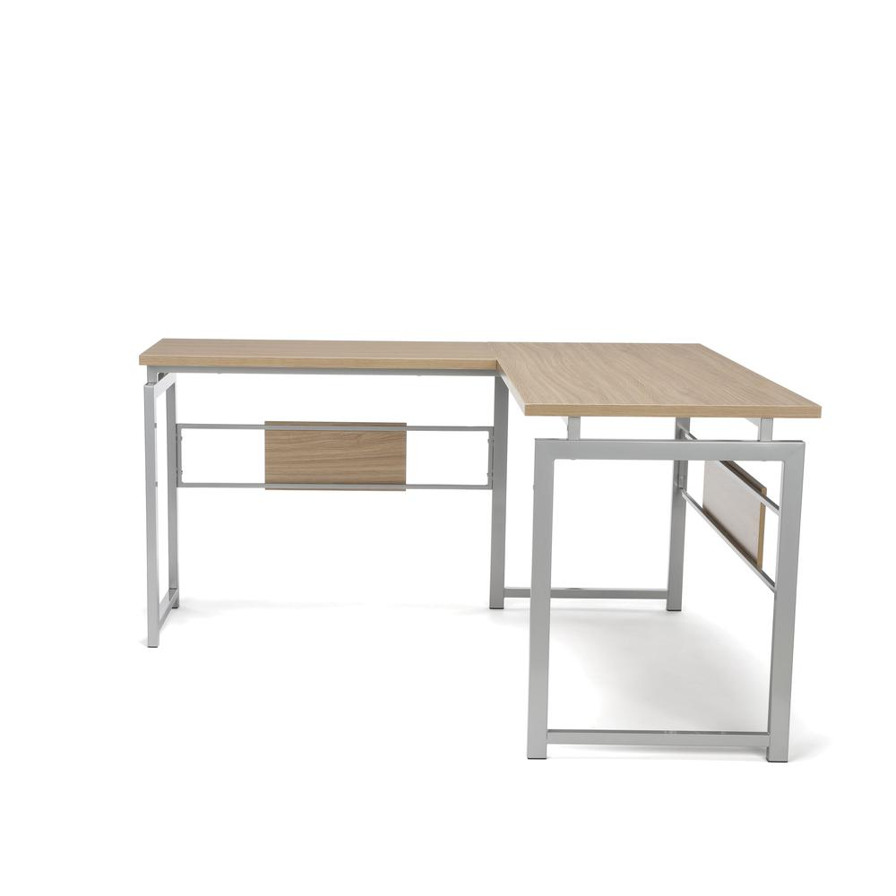 Essentials by OFM ESS-1020 L Desk with Metal Legs, Harvest with Silver Frame. Picture 5
