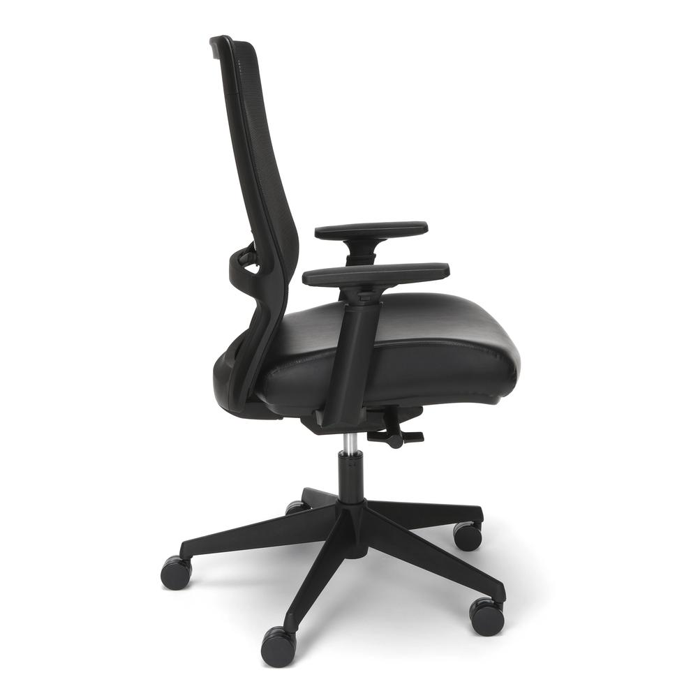 HON Basyx Biometryx Commercial-Grade Mesh Back with Bonded Leather Seat Task Chair, Office Chair, in Black (BSX155SB11T). Picture 4