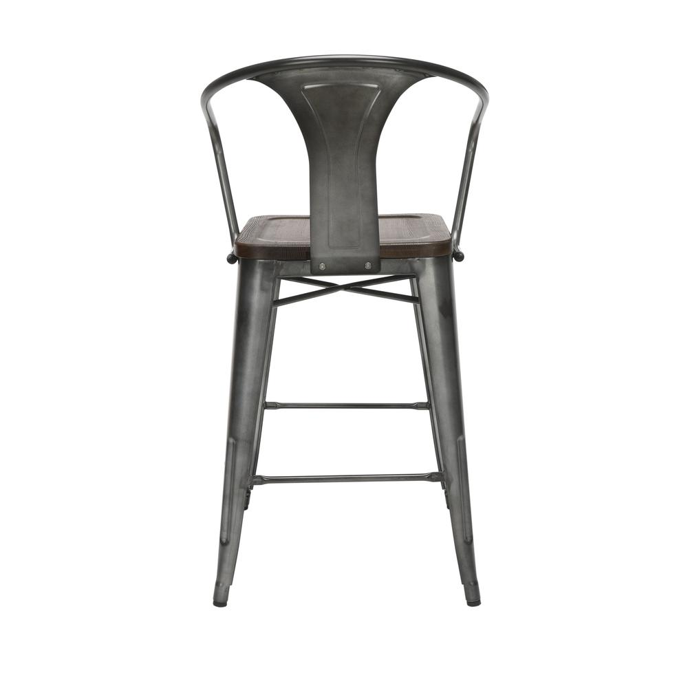 "The OFM 161 Collection Industrial Modern 26"" Mid Back Metal Stools with Arms and Solid Ash Wood Seats, 4 Pack, bring the industrial vibe of a galvanized steel frame with the cozy comfort of arms and c. Picture 3"
