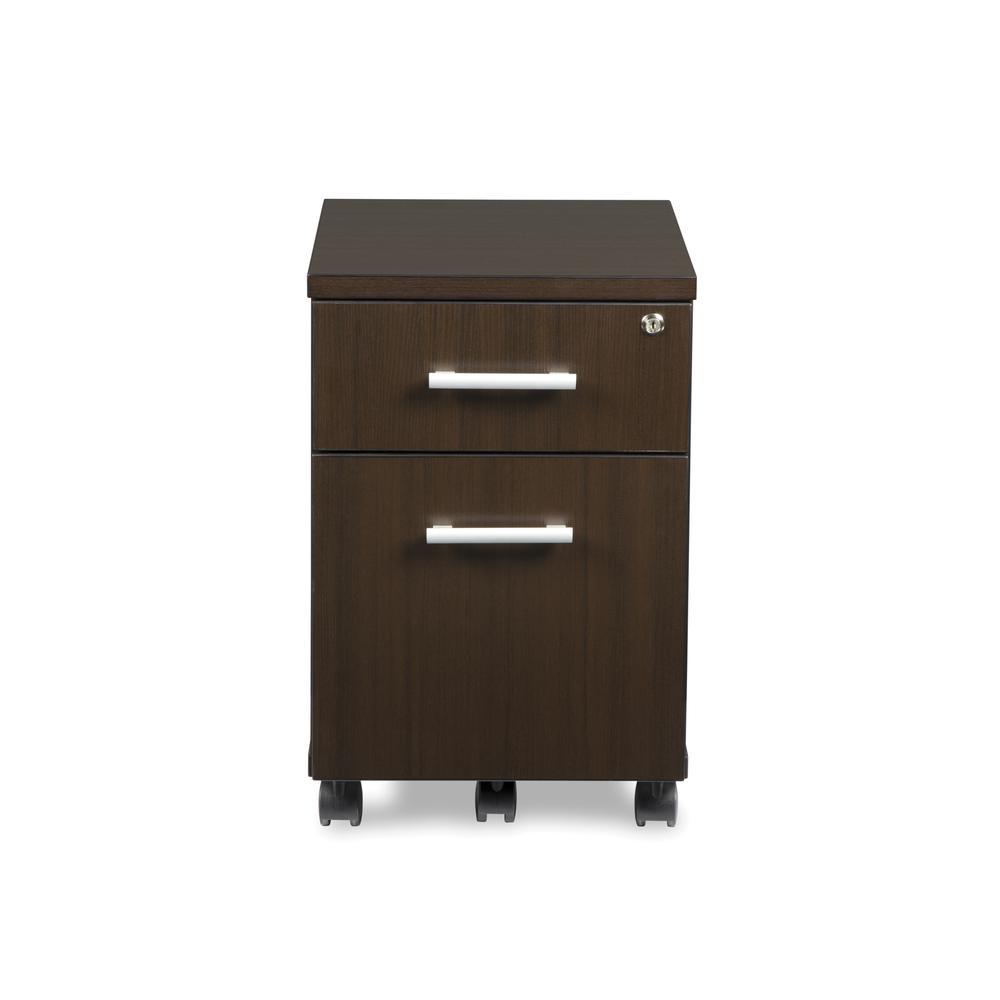 OFM Fulcrum Series Locking Pedestal, Mobile 2-Drawer Filing Cabinet, Espresso (CL-MBF-ESP). Picture 2