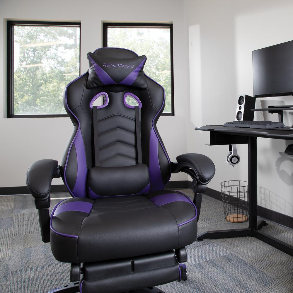RESPAWN 110 Racing Style Gaming Chair with Footrest, in Purple. Picture 12