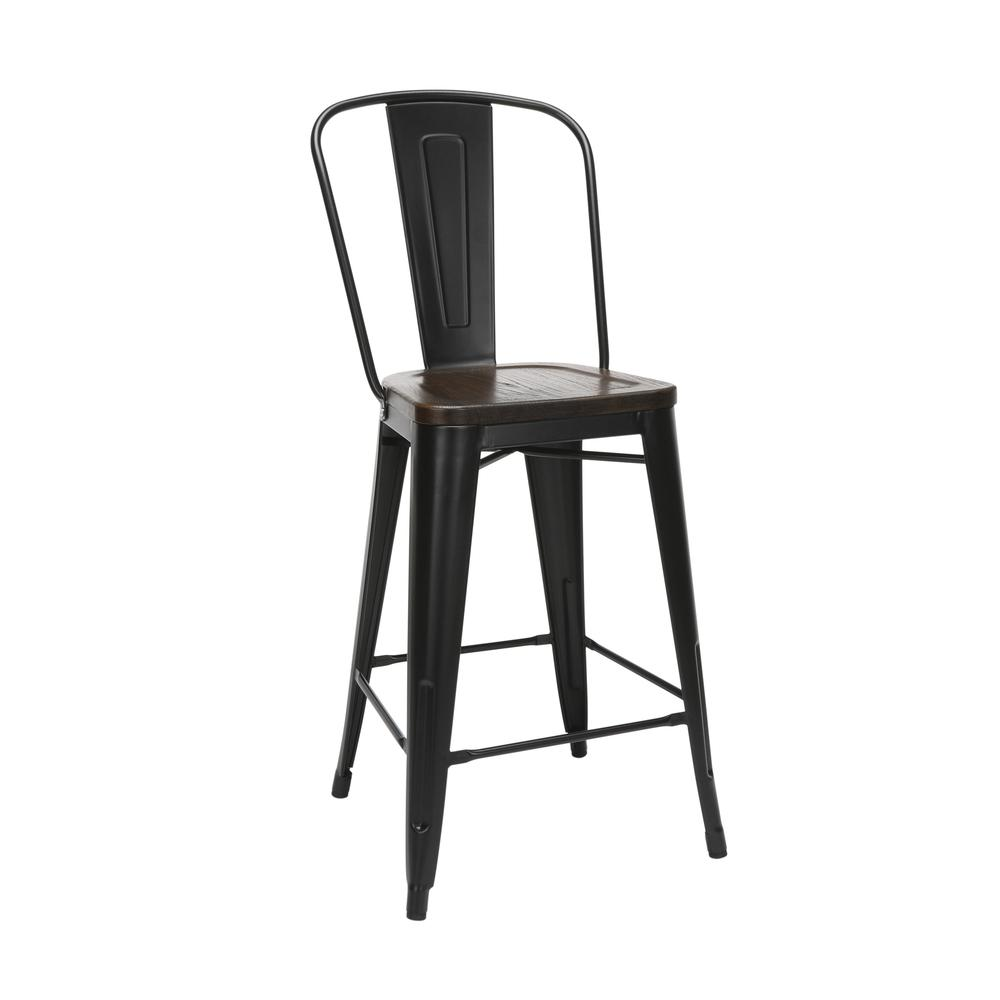 "The OFM 161 Collection Industrial Modern 26"" High Back Metal Stools with Solid Ash Wood Seats, 4 Pack, bring the industrial vibe of a galvanized steel frame and couple it with the inviting warmth of s. The main picture."