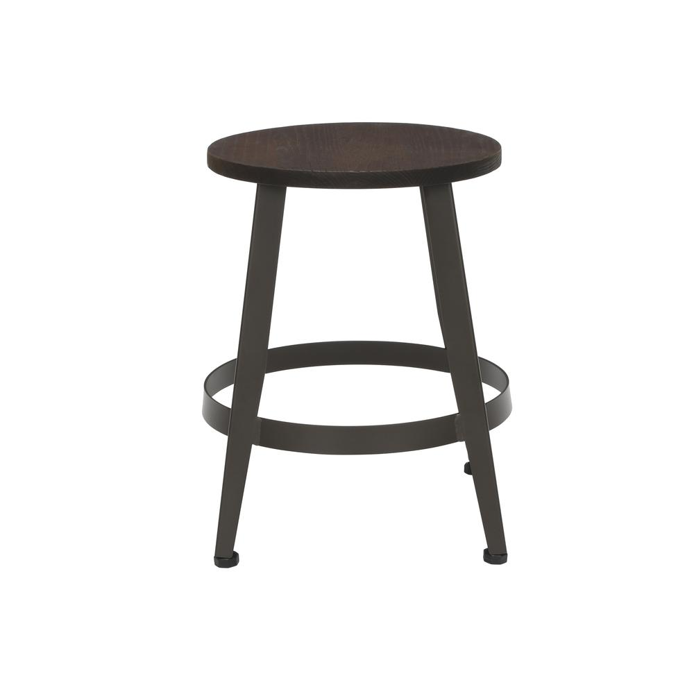 "18"" Table Height Metal Stool, in Walnut. Picture 4"