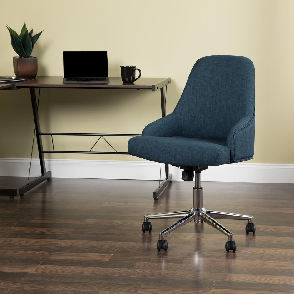 Essentials by OFM ESS-2086 Upholstered Home Desk Chair, Blue. Picture 6