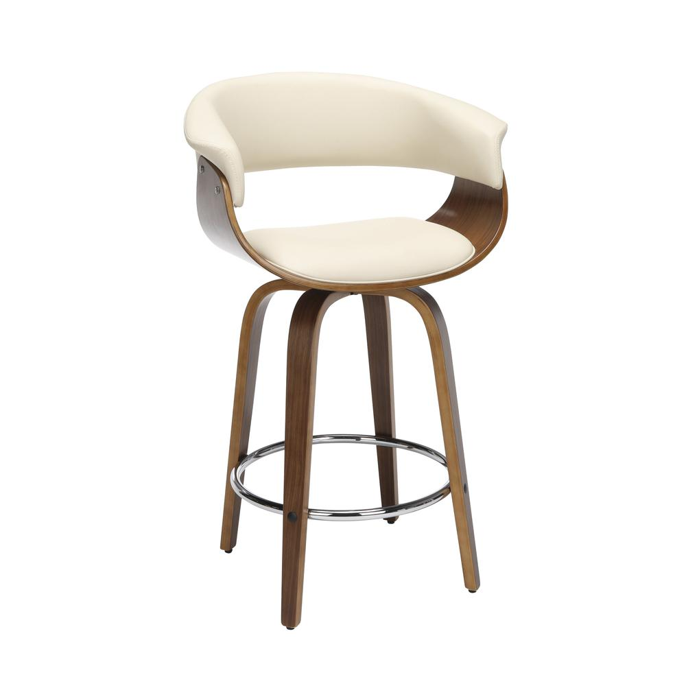 "The OFM 161 Collection Mid Century Modern 26"" Low Back Bentwood Frame Swivel Seat Stool, Vinyl Upholstery, in Ivory, is a statement piece that solves your elevated seating needs with the added functio. Picture 1"