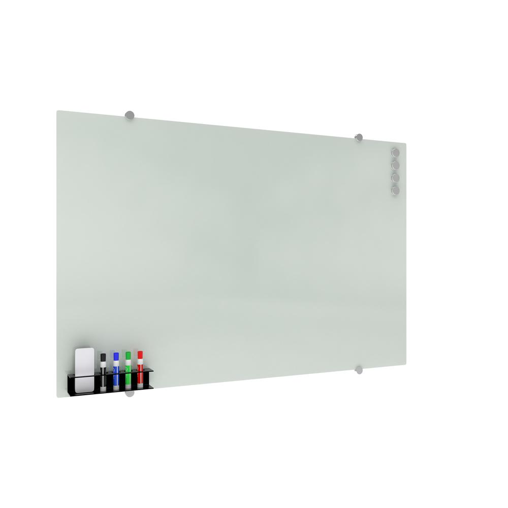 OFM Core Collection Magnetic Glass Whiteboard with Magnetic Marker Caddy, 47 x 30 (GB4730-REC-WHT). Picture 1