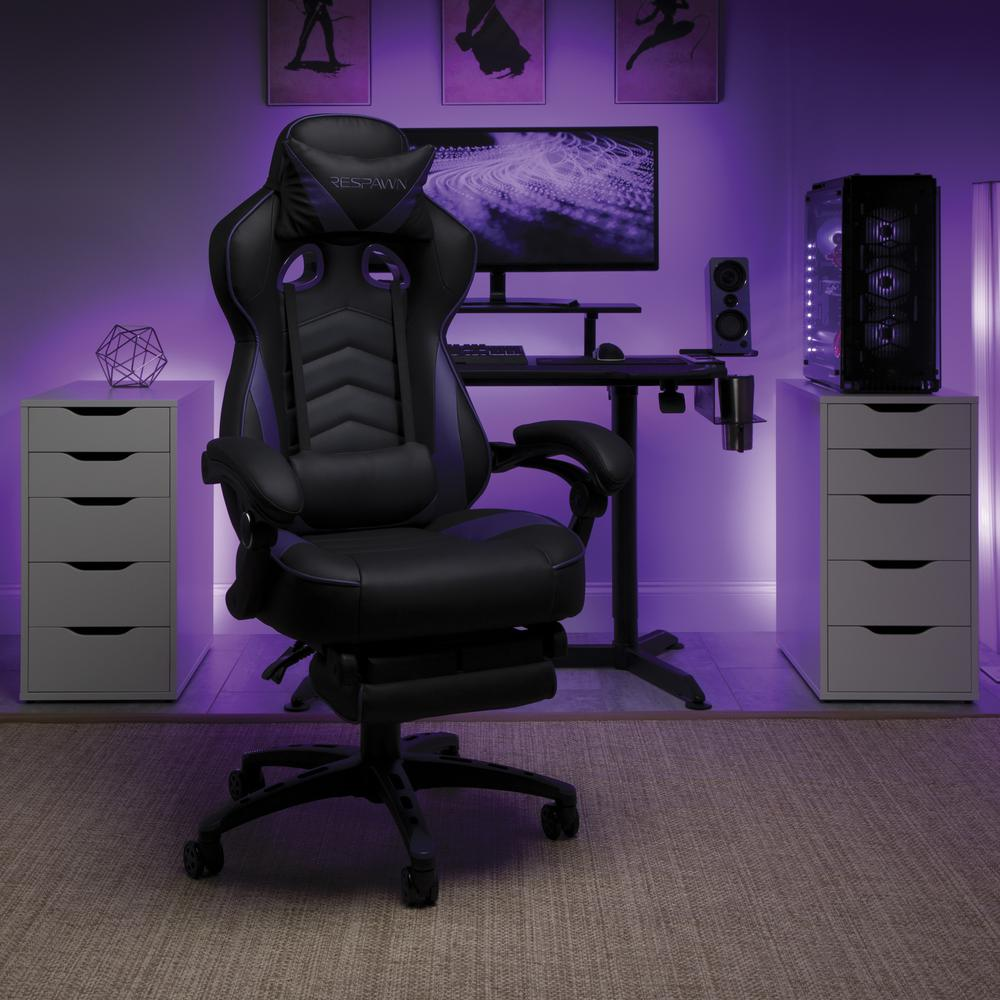 RESPAWN 110 Racing Style Gaming Chair with Footrest, in Purple. Picture 13