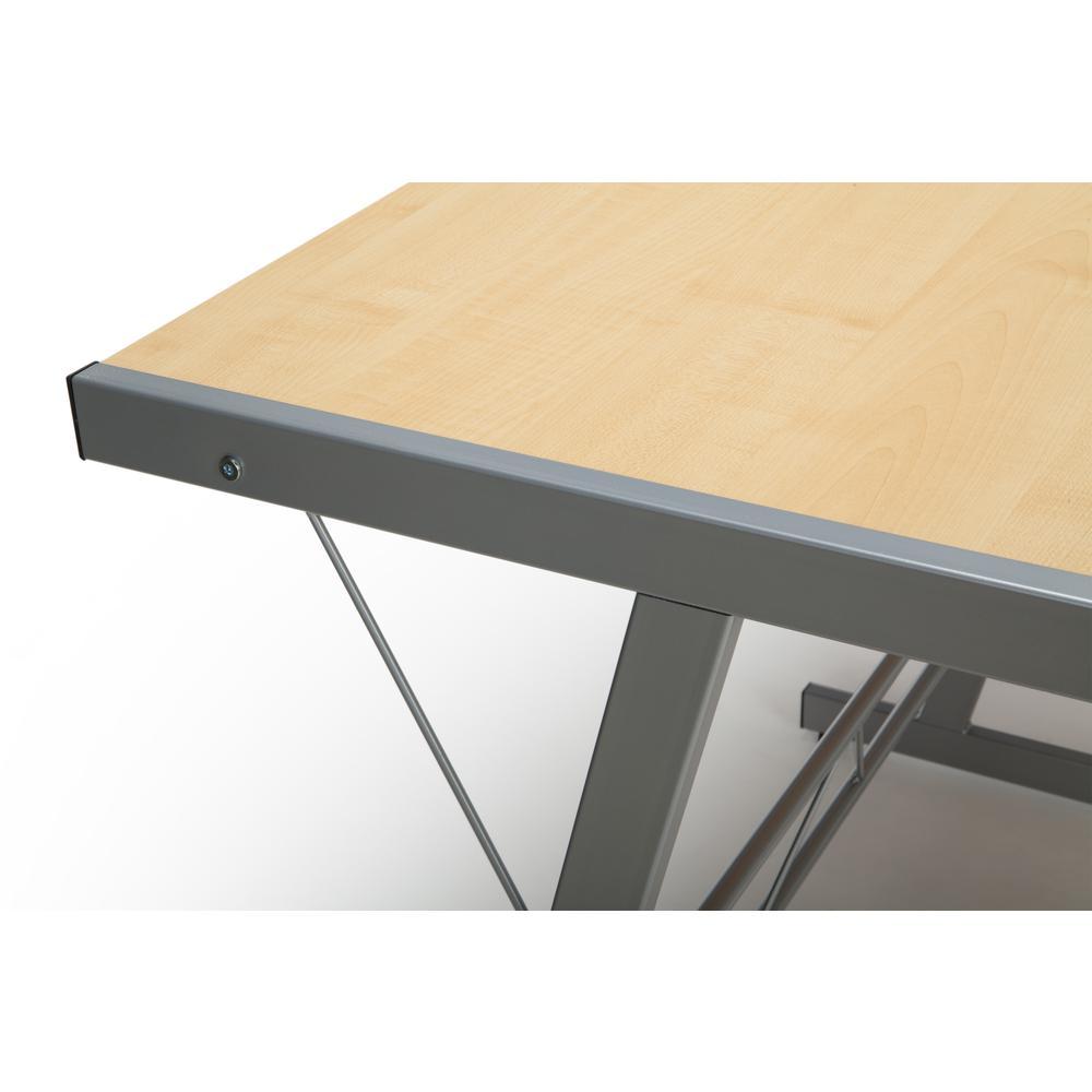 """60"""" Metal Frame L-Shaped Desk, Corner Computer Desk, in Maple. Picture 7"""