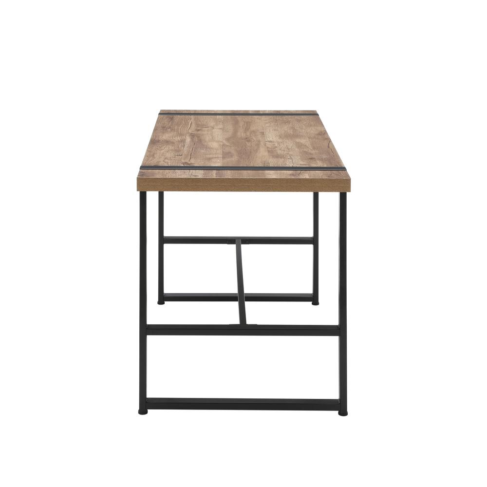 "Modern 48"" Metal O-Frame Computer Desk, in Knotty Oak. Picture 5"