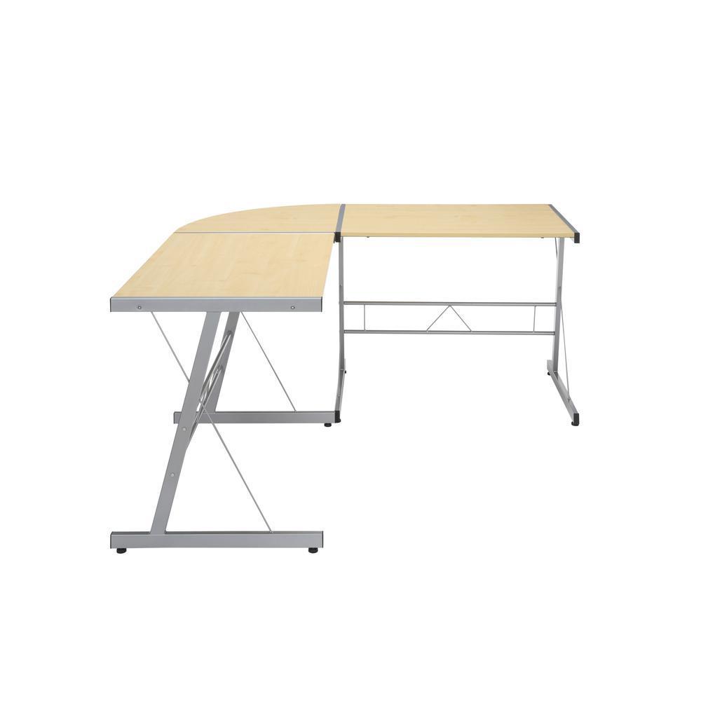 """60"""" Metal Frame L-Shaped Desk, Corner Computer Desk, in Maple. Picture 4"""