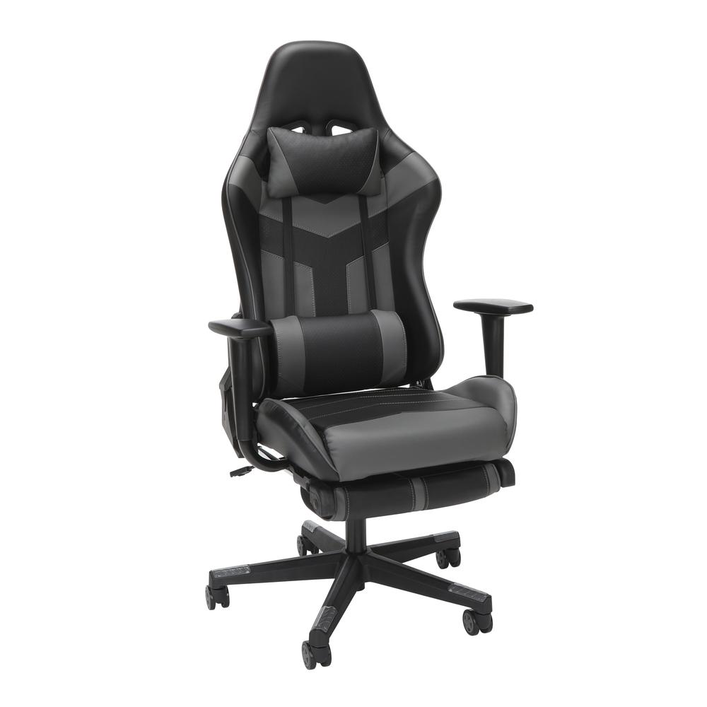 Essentials Collection High Back PU Leather Gaming Chair, with Extendable Footrest, in Grey (ESS-6075FR-GRY). Picture 1