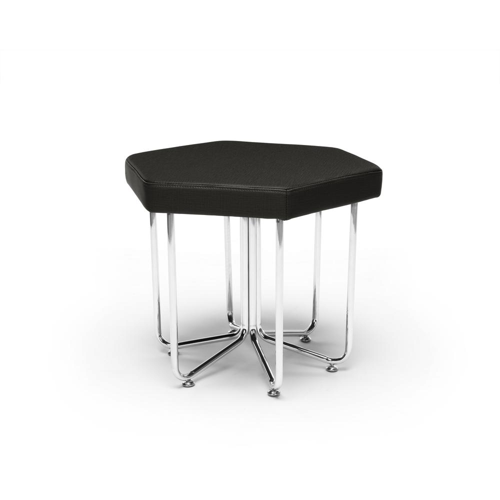 OFM Hex Series Model 66 Vinyl Hexagon Stool, Midnight with Chrome Frame. Picture 1