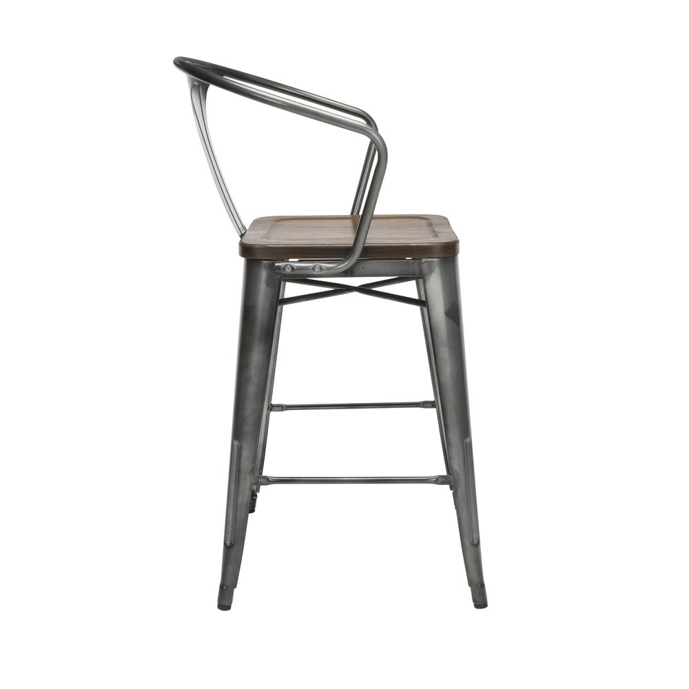 "The OFM 161 Collection Industrial Modern 26"" Mid Back Metal Stools with Arms and Solid Ash Wood Seats, 4 Pack, bring the industrial vibe of a galvanized steel frame with the cozy comfort of arms and c. Picture 4"