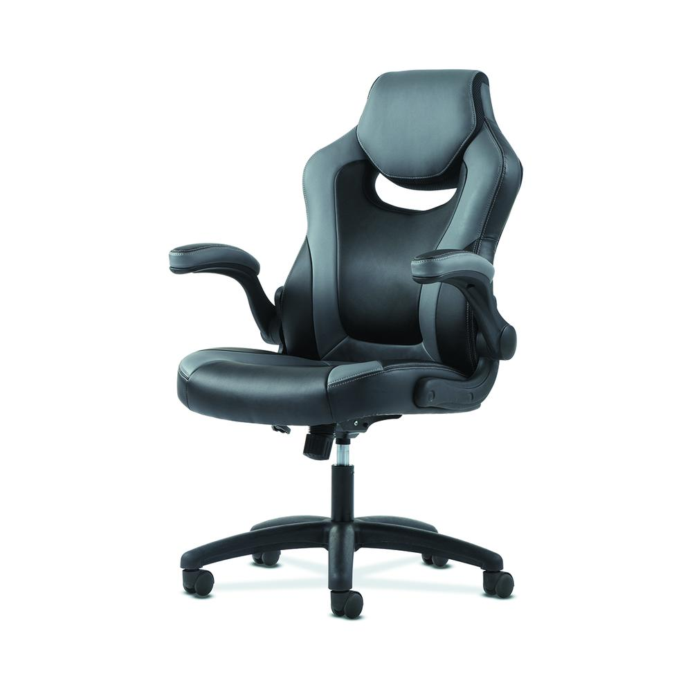 Sadie Racing Gaming Computer Chair- Flip-Up Arms, Black and Gray Leather (HVST911). Picture 2