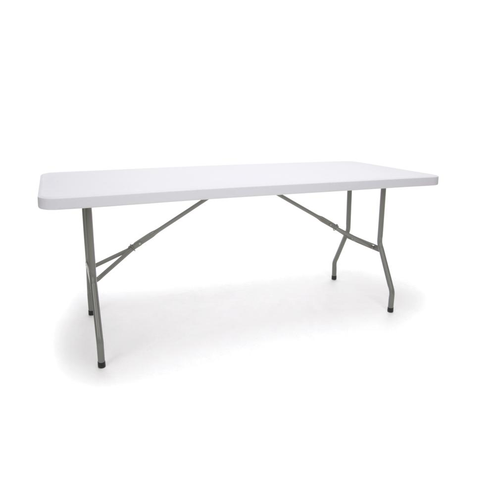 Essentials by OFM ESS-5072 6' Blow Molded Folding Utility Table, White. Picture 1