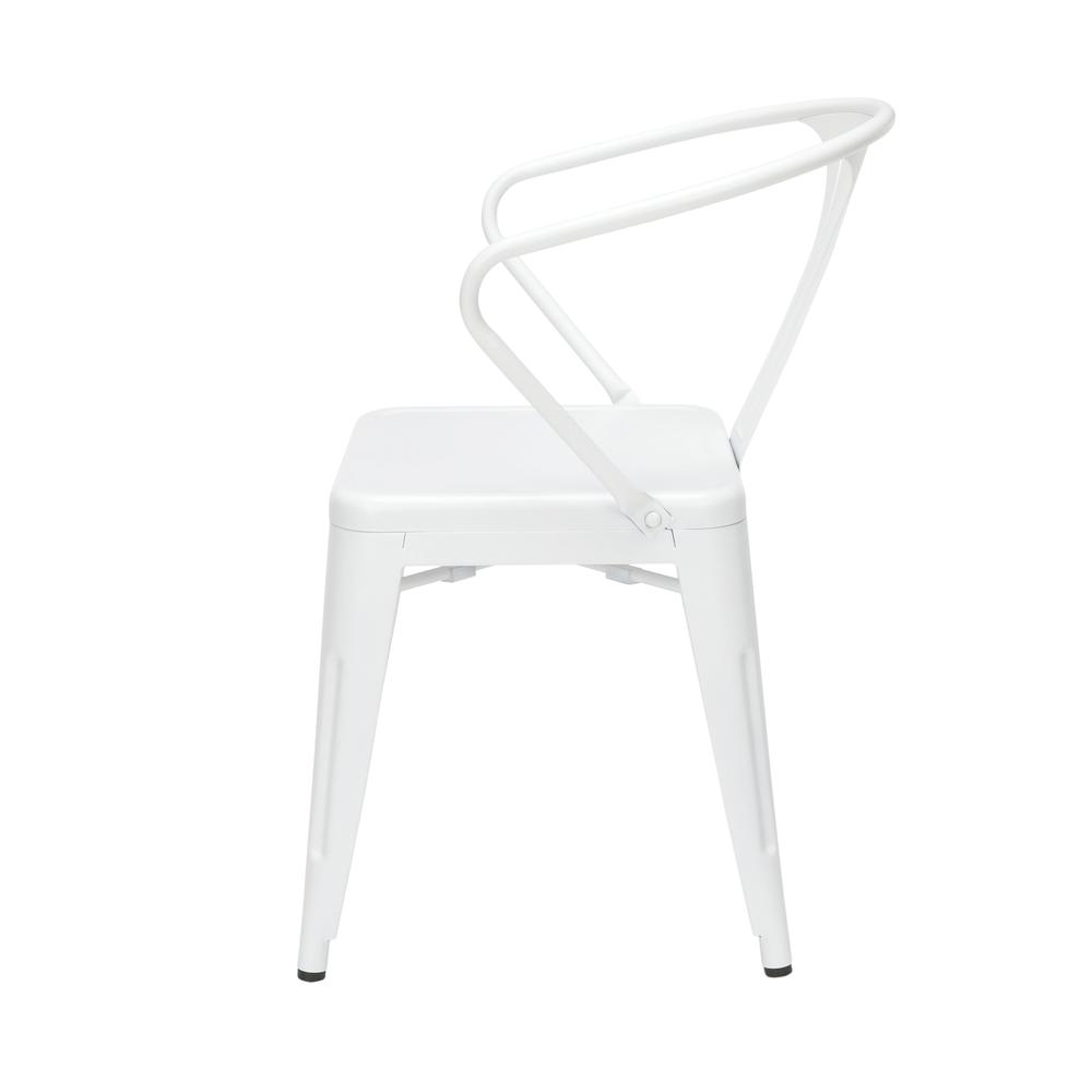 "OFM 161 Collection Industrial Modern 18"" Mid Back Metal Dining Chairs with Arms, 4 Pack, are manufactured with galvanized steel for indoor and outdoor use. These stacking metal chairs come fully assem. Picture 5"