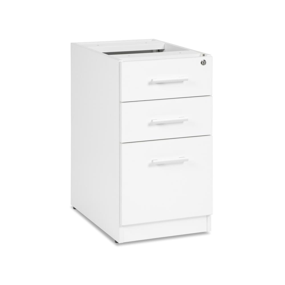 OFM Fulcrum Series Locking Pedestal, 3-Drawer Filing Cabinet, White (CL-BBF-WHT). Picture 1