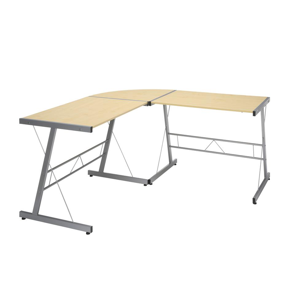 """60"""" Metal Frame L-Shaped Desk, Corner Computer Desk, in Maple. Picture 1"""