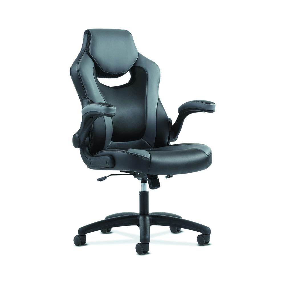 Sadie Racing Gaming Computer Chair- Flip-Up Arms, Black and Gray Leather (HVST911). Picture 1