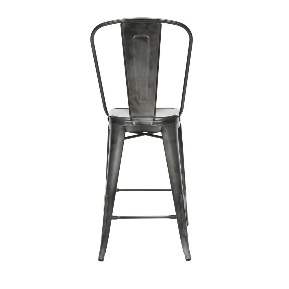 "The OFM 161 Collection Industrial Modern 26"" High Back Metal Bar Stools, 4 Pack, provide a sophisticated counter height seating solution for cafe tables and bars, suitable for indoor/outdoor settings.. Picture 3"
