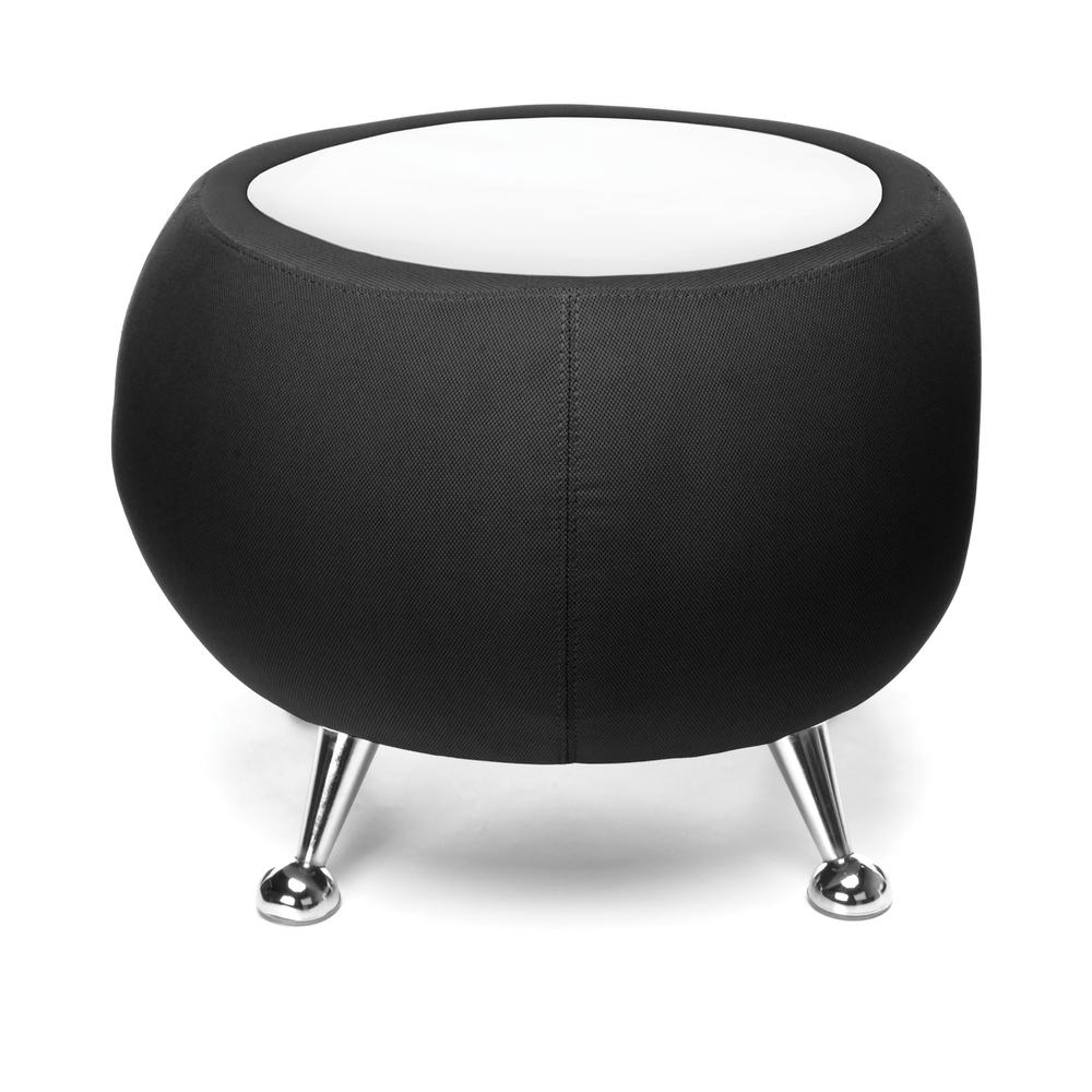 OFM Fabric Ball Stool, in Black, with White Table Top (2001T-2327-WHT). Picture 3
