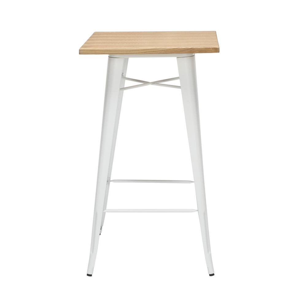 "The OFM 161 Collection Industrial Modern 24"" Square Bar Table with Footring features a galvanized steel frame coupled with a 1"" thick wooden tabletop and completed with a footrest that's positioned 11. Picture 5"