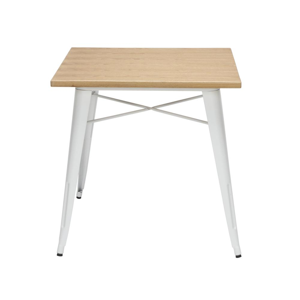 """The OFM 161 Collection Industrial Modern 30"""" Square Dining Table features a galvanized steel body with a wooden tabletop that is ideal for covered outdoor spaces or any indoor space like kitchens, caf. Picture 5"""