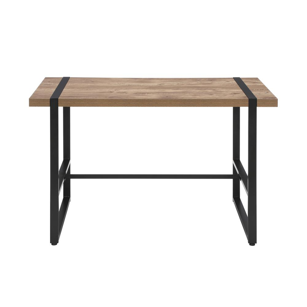 "Modern 48"" Metal O-Frame Computer Desk, in Knotty Oak. Picture 2"