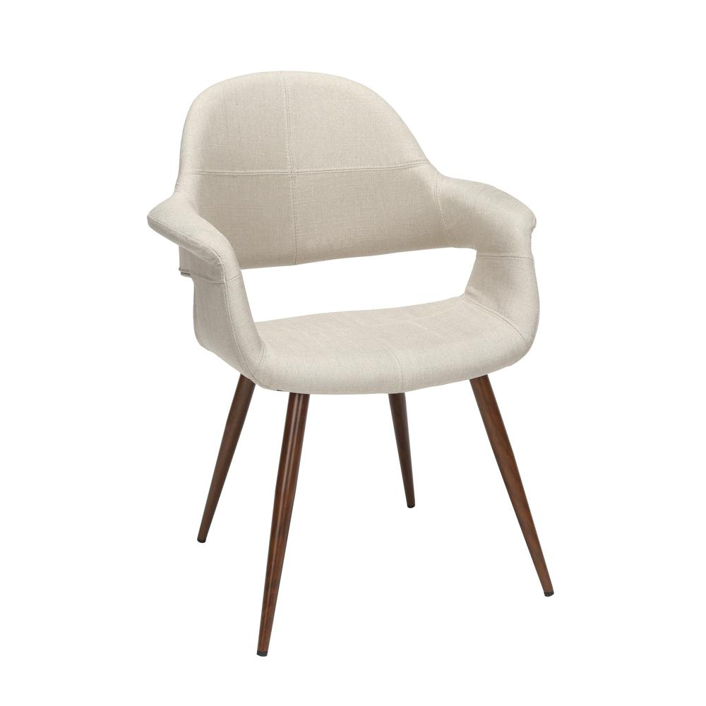 The OFM 161 Collection Mid Century Modern Fabric Accent Chair with Arms, 2 Pack, in Beige, is reminiscent of the original MCM chair. This quintessential mid century modern accent dining chair is sold. Picture 1