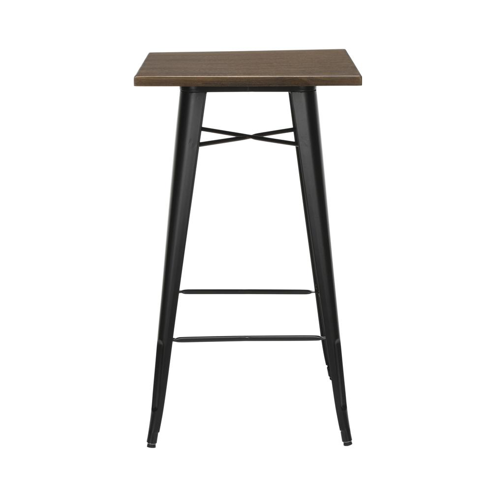 """The OFM 161 Collection Industrial Modern 24"""" Square Bar Table with Footring features a galvanized steel frame coupled with a 1"""" thick wooden tabletop and completed with a footrest that's positioned 11. Picture 4"""