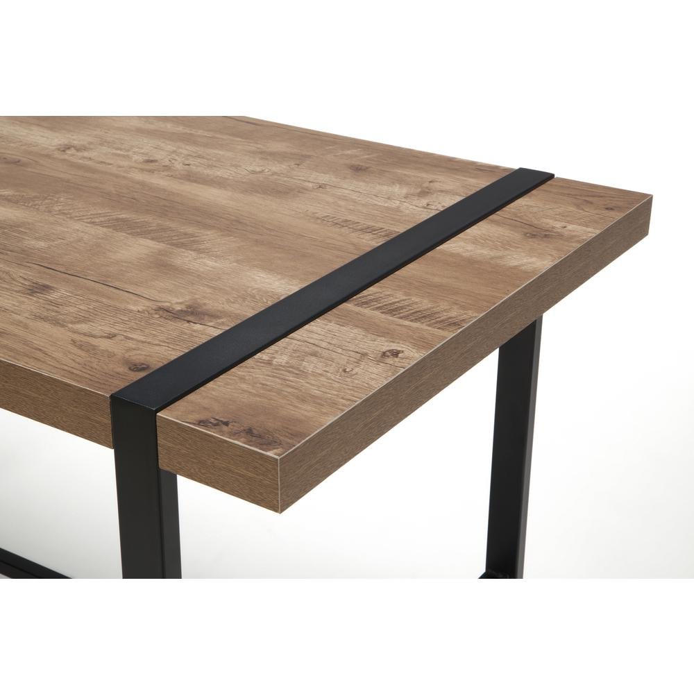 "Modern 48"" Metal O-Frame Computer Desk, in Knotty Oak. Picture 6"