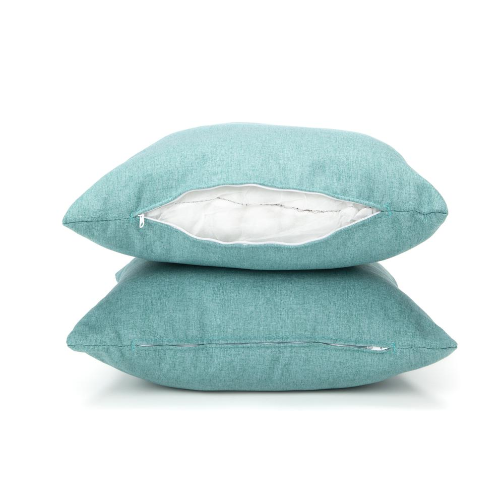 161 Collection Mid Century Modern 2-Pack 18 x 18 Accent Pillows, Teal. Picture 10