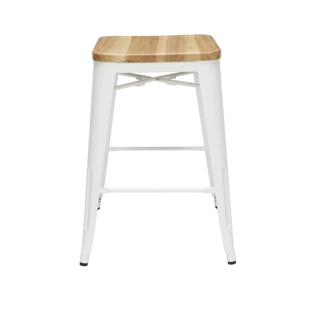 """The OFM 161 Collection Industrial Modern 26"""" Backless Metal Bar Stools with Solid Ash Wood Seats, 4 Pack, require no assembly, are stackable, and provide a roomy 15 square inches of seating surface. P. Picture 2"""