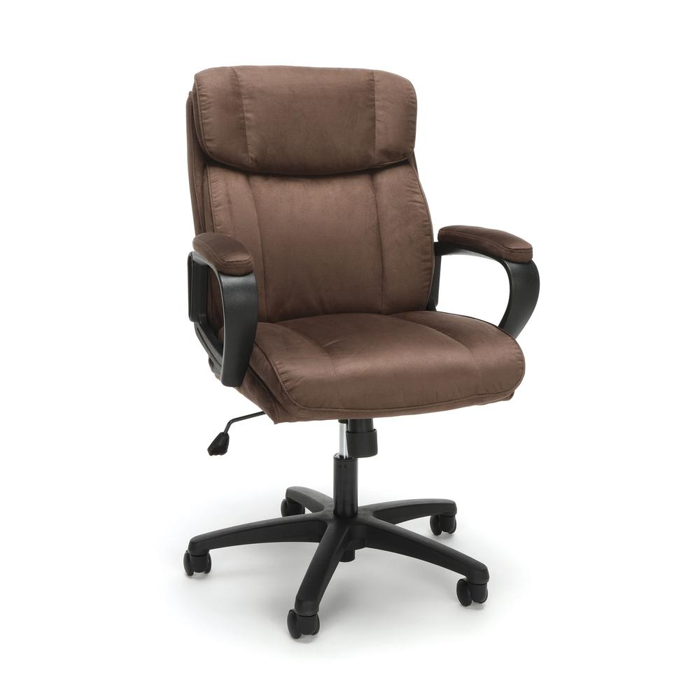 Essentials by OFM ESS-3082 Plush Microfiber Office Chair, Brown. Picture 1