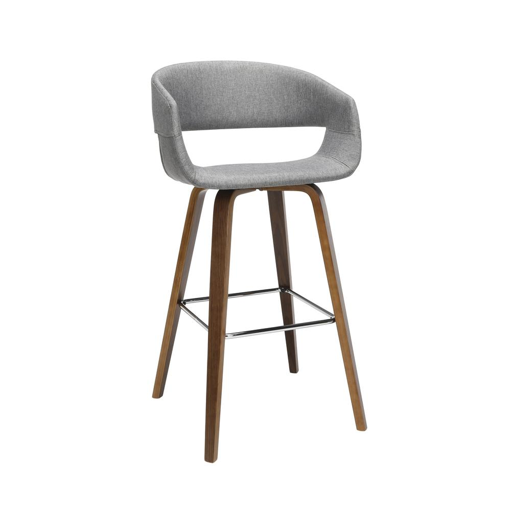 "The OFM 161 Collection Mid Century Modern 26"" Low Back Bentwood Frame Stool, Fabric Upholstery, 2 Pack, in Light Gray, is a graceful stool that provides a retro look for your elevated seating needs.. Picture 1"