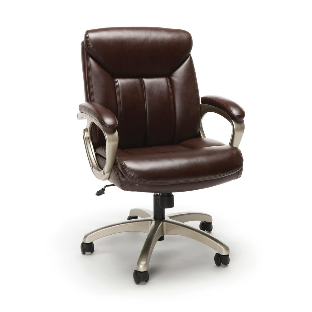 Essentials by OFM ESS-6020 Executive Office Chair, Brown with Champagne Frame. Picture 1