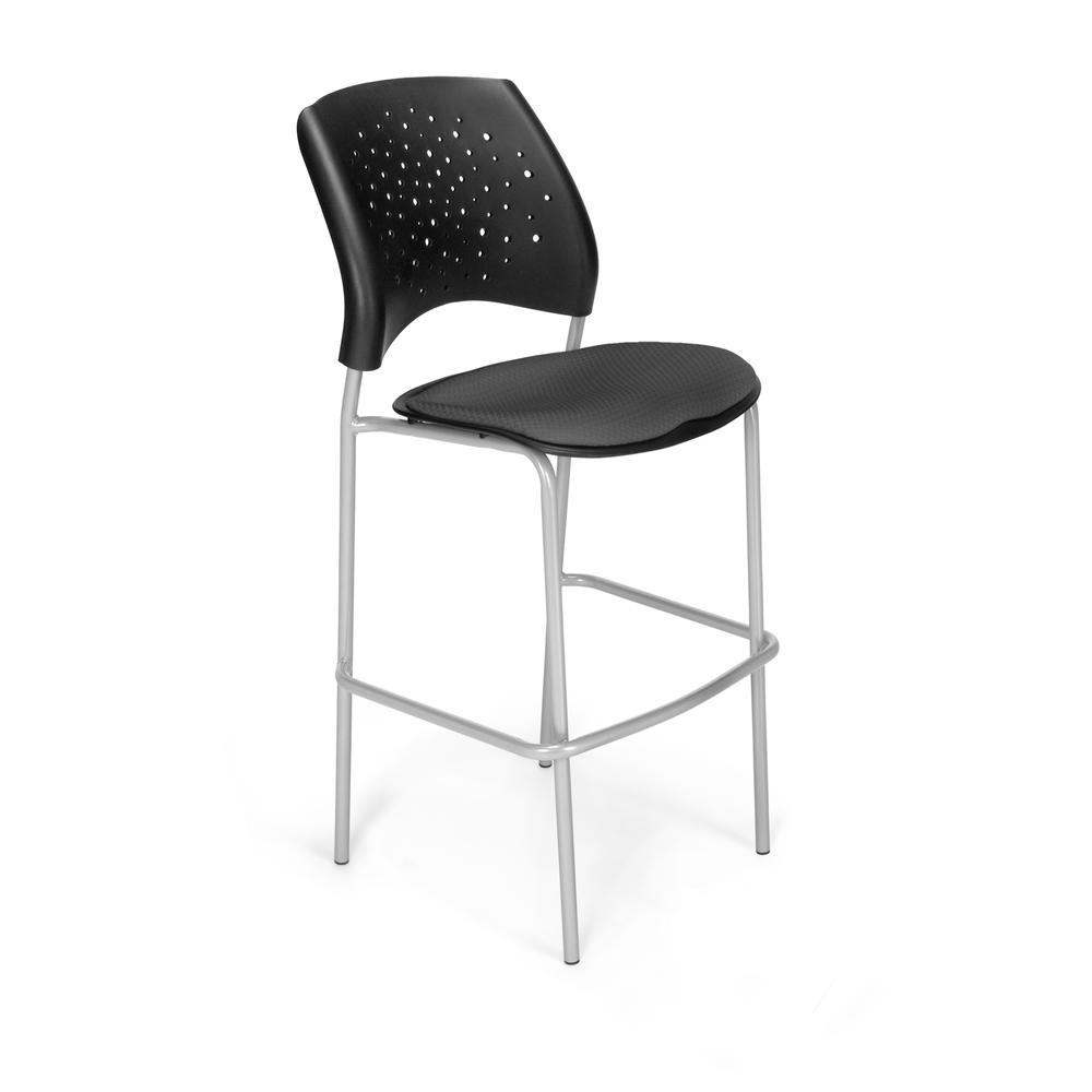 OFM Model 328S Fabric Cafe Height Chair, Slate Gray with Silver Base. Picture 1