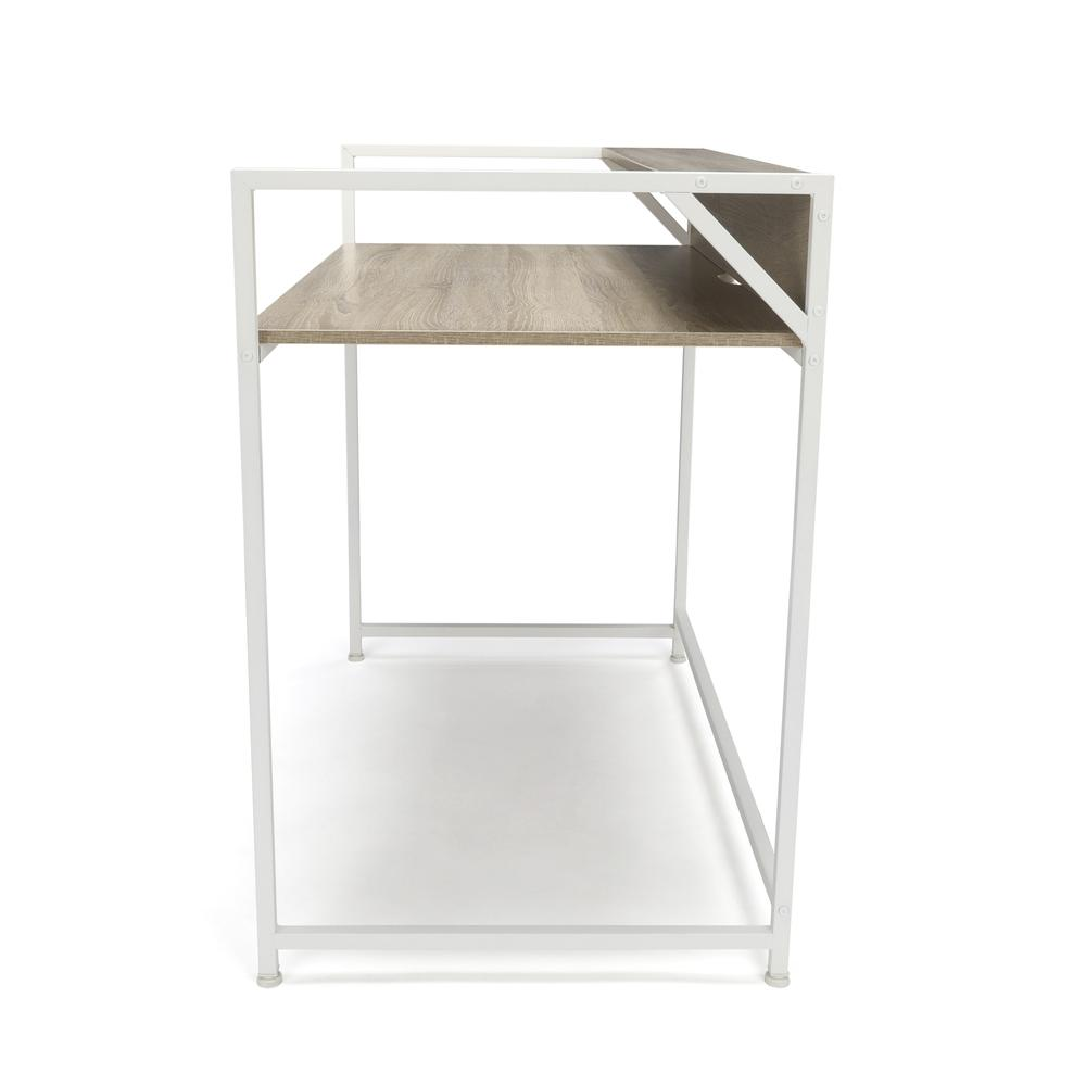 Essentials by OFM ESS-1003 Computer Desk with Shelf, White with Natural. Picture 4