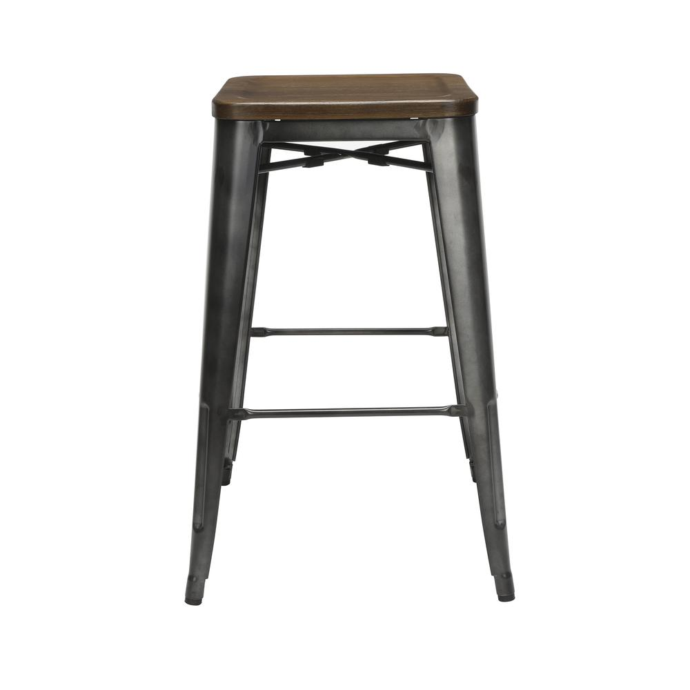"The OFM 161 Collection Industrial Modern 30"" Backless Metal Bar Stools with Solid Ash Wood Seats, 4 Pack, require no assembly, are stackable, and provide a roomy 15 square inches of seating surface. P. Picture 4"
